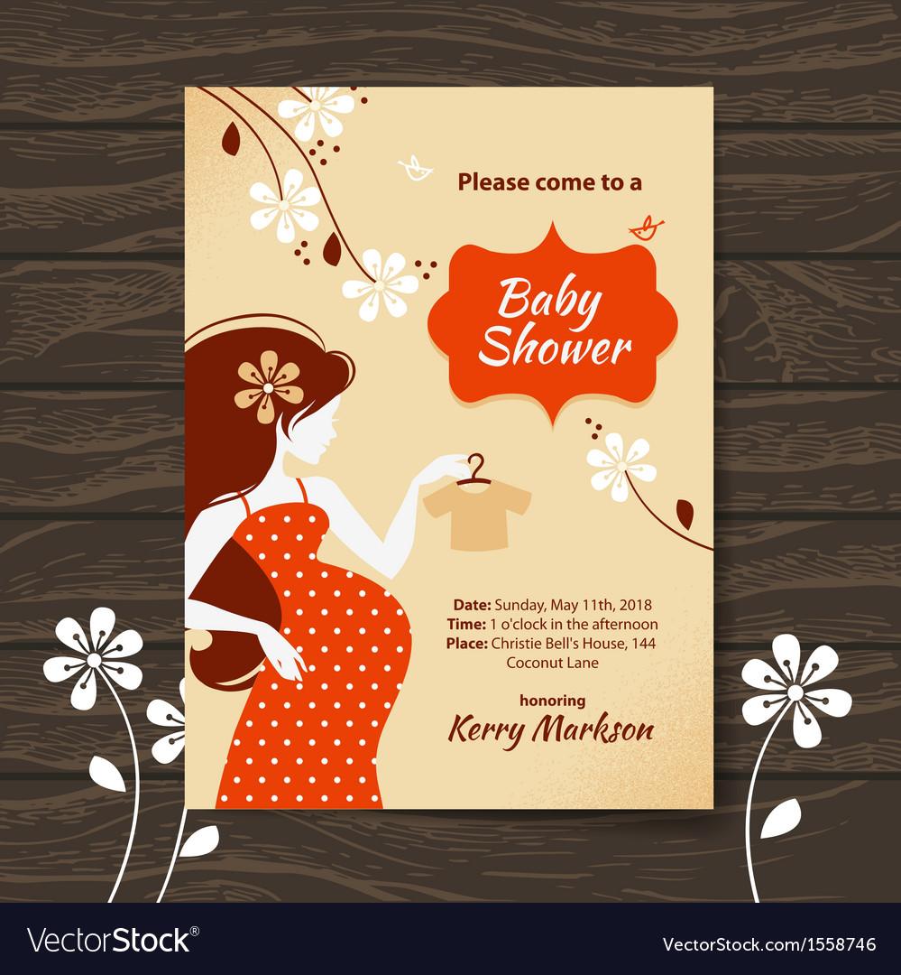Vintage baby shower invitation vector | Price: 1 Credit (USD $1)