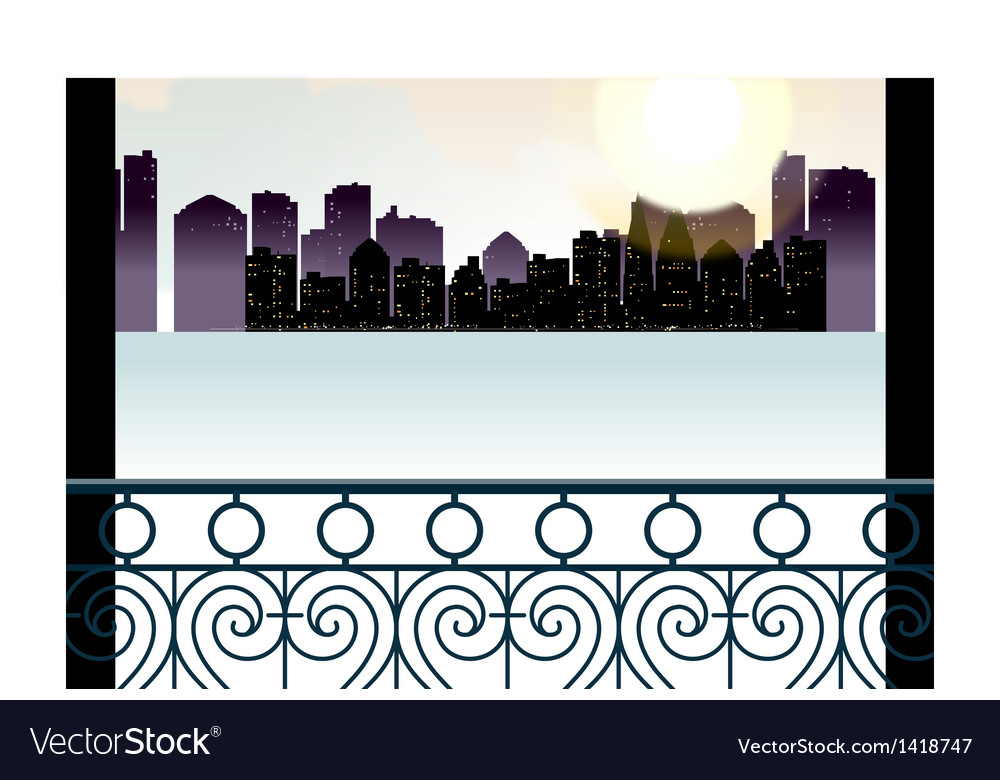 Balcony cityscape view vector | Price: 1 Credit (USD $1)