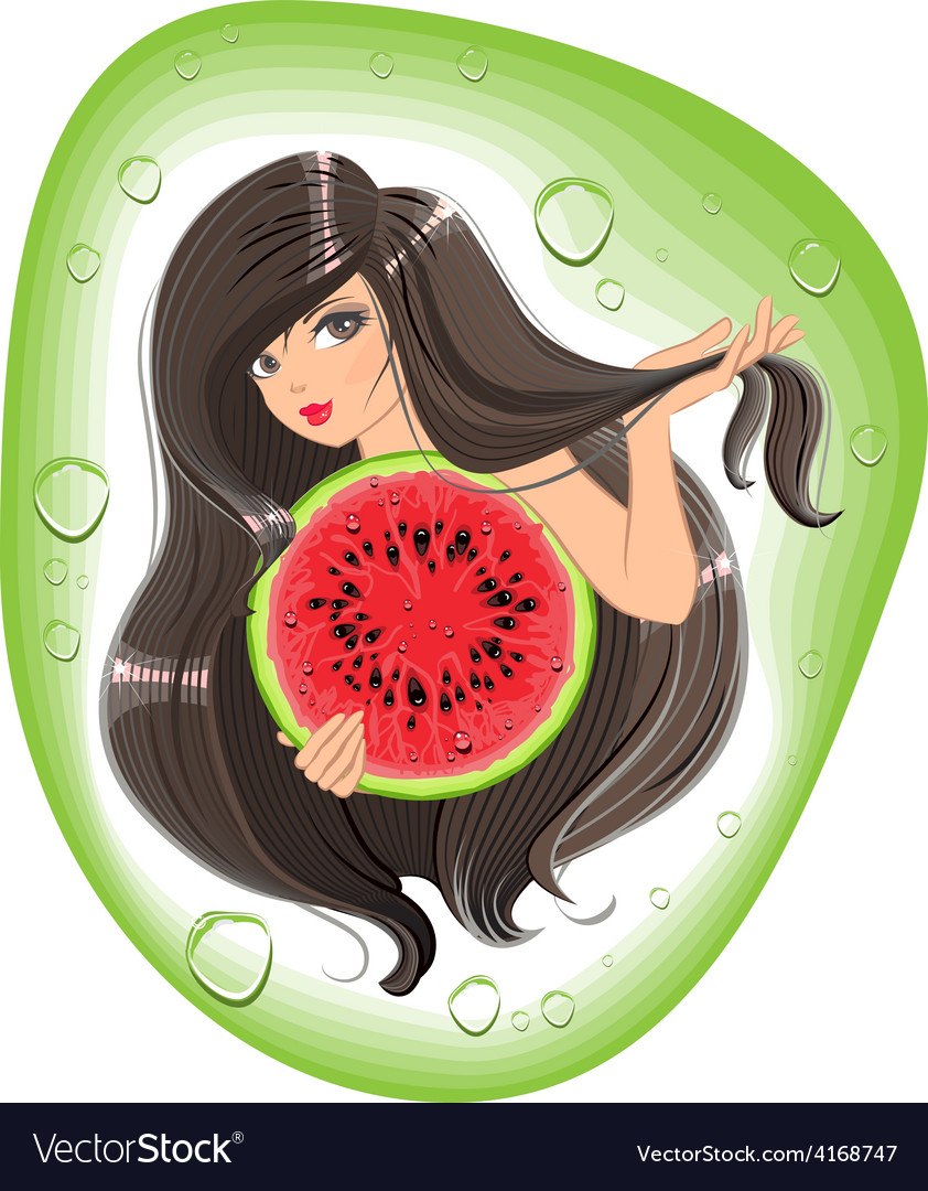 Brunette girl holding a watermelon template label vector | Price: 3 Credit (USD $3)