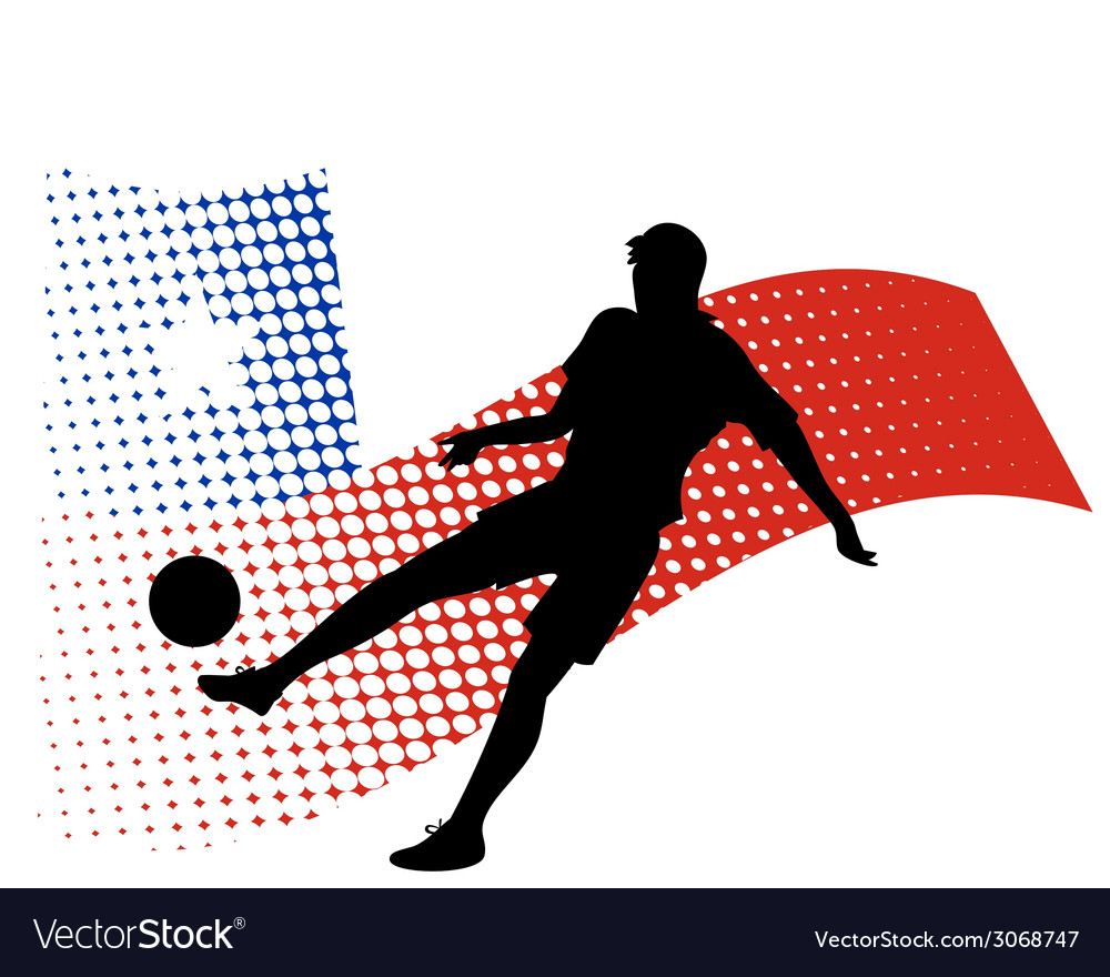 Chile soccer player against national flag vector | Price: 1 Credit (USD $1)