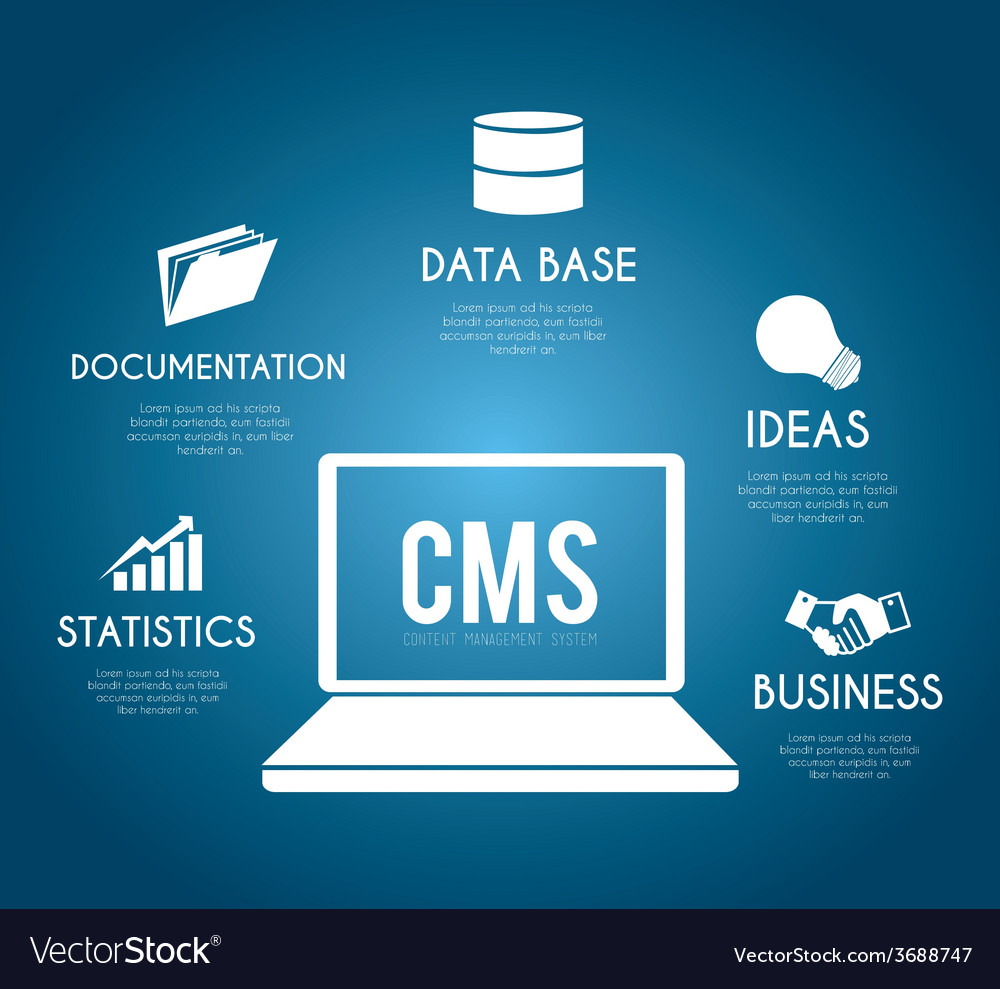 Cms design over blue background vector | Price: 1 Credit (USD $1)