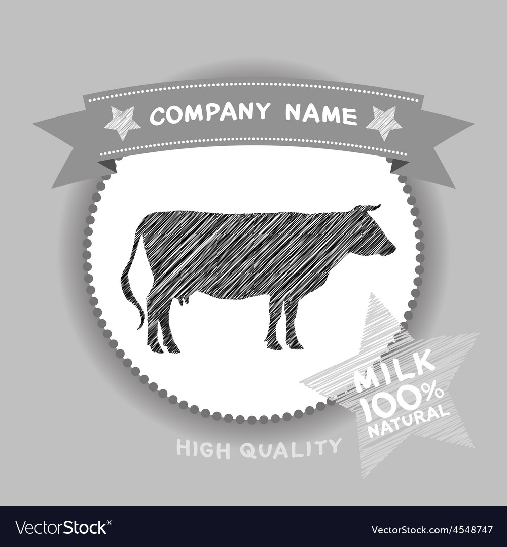 Farm shop cow silhouette milk diagram and design vector | Price: 1 Credit (USD $1)