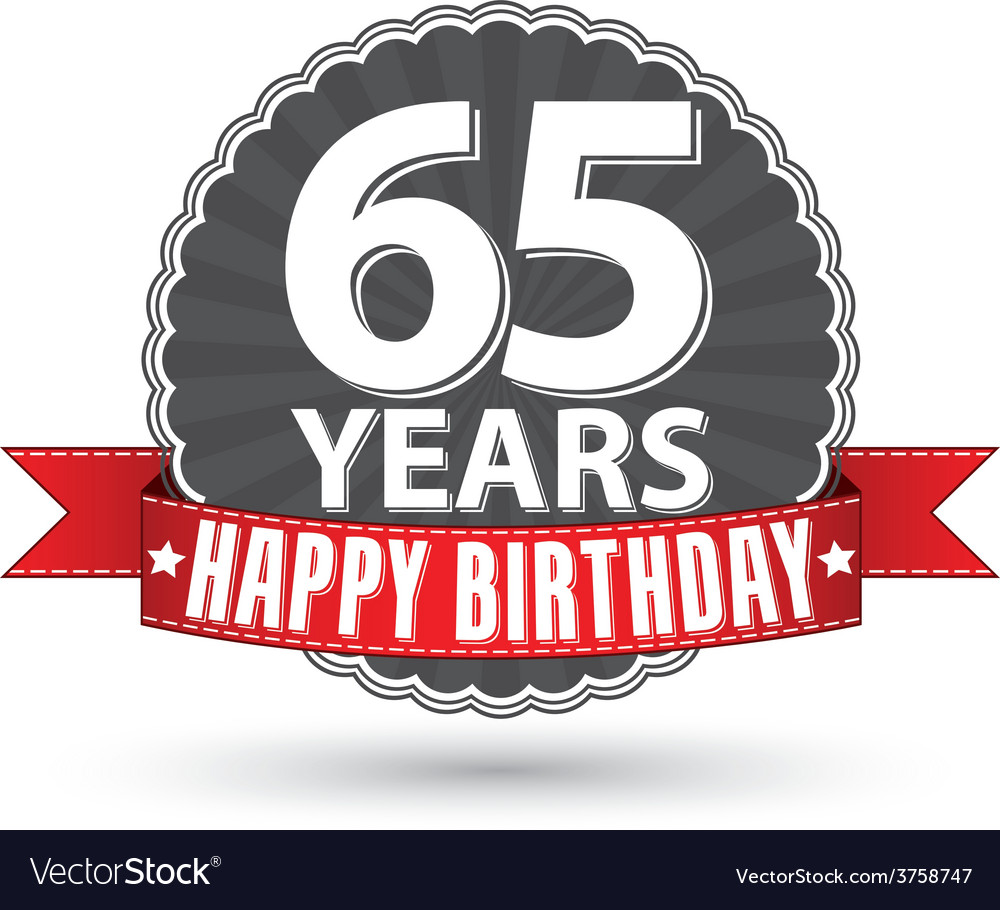 Happy birthday 65 years retro label with red vector | Price: 1 Credit (USD $1)
