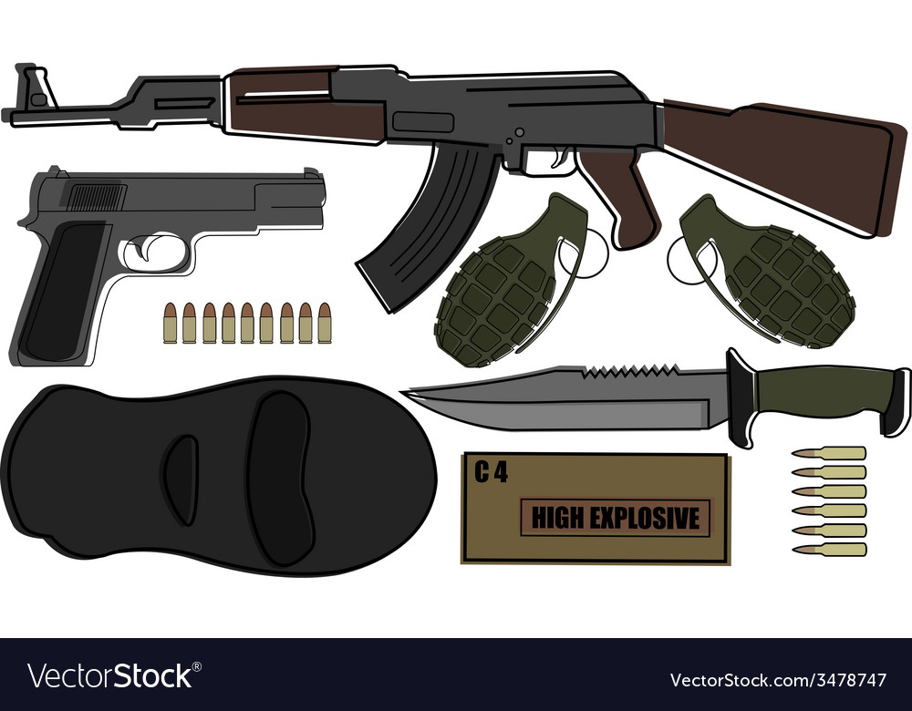 Military weapon pack vector | Price: 1 Credit (USD $1)