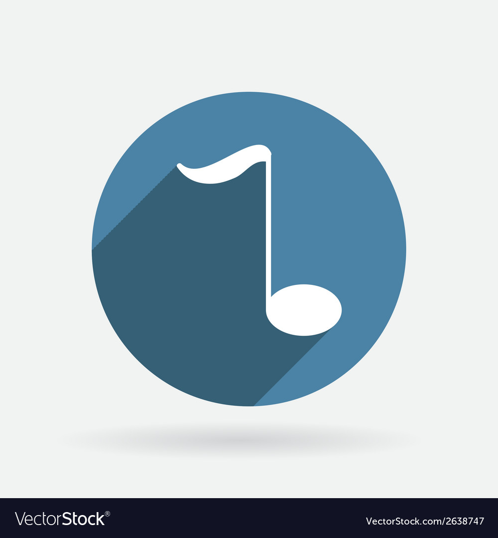 Musical note circle blue icon with shadow vector | Price: 1 Credit (USD $1)
