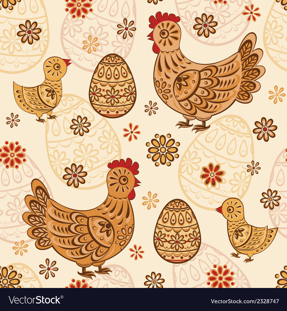 Seamless pattern with folk chicks and eggs vector | Price: 1 Credit (USD $1)