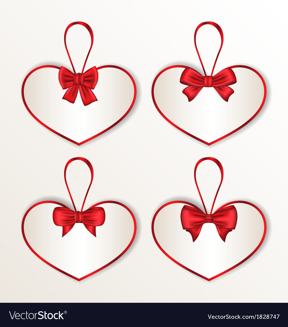 Set elegance cards heart shaped with silk bows vector | Price: 1 Credit (USD $1)