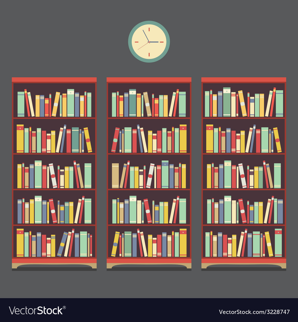 Three bookcase vintage design vector | Price: 1 Credit (USD $1)