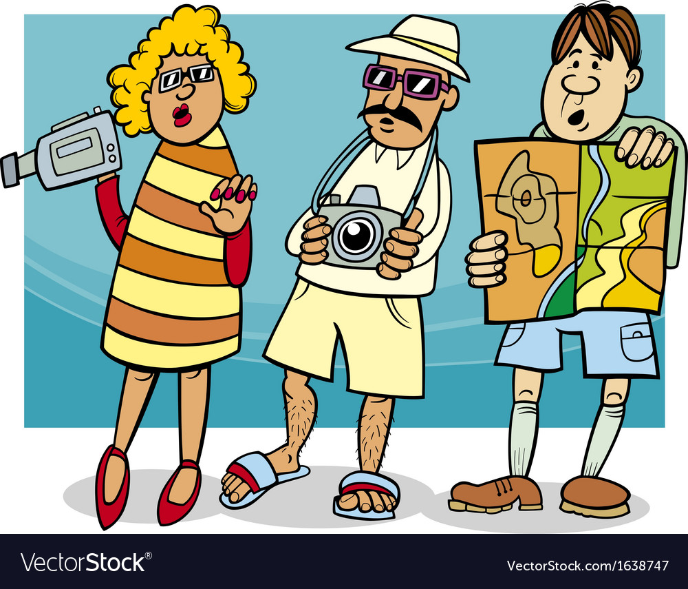 Tourist group cartoon vector | Price: 1 Credit (USD $1)