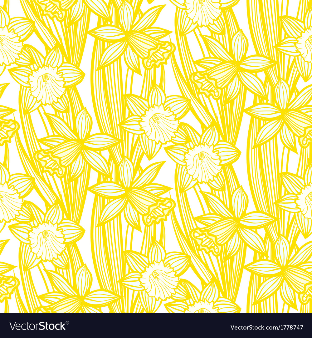 Vintage pattern with daffodils or narcissus vector | Price: 1 Credit (USD $1)