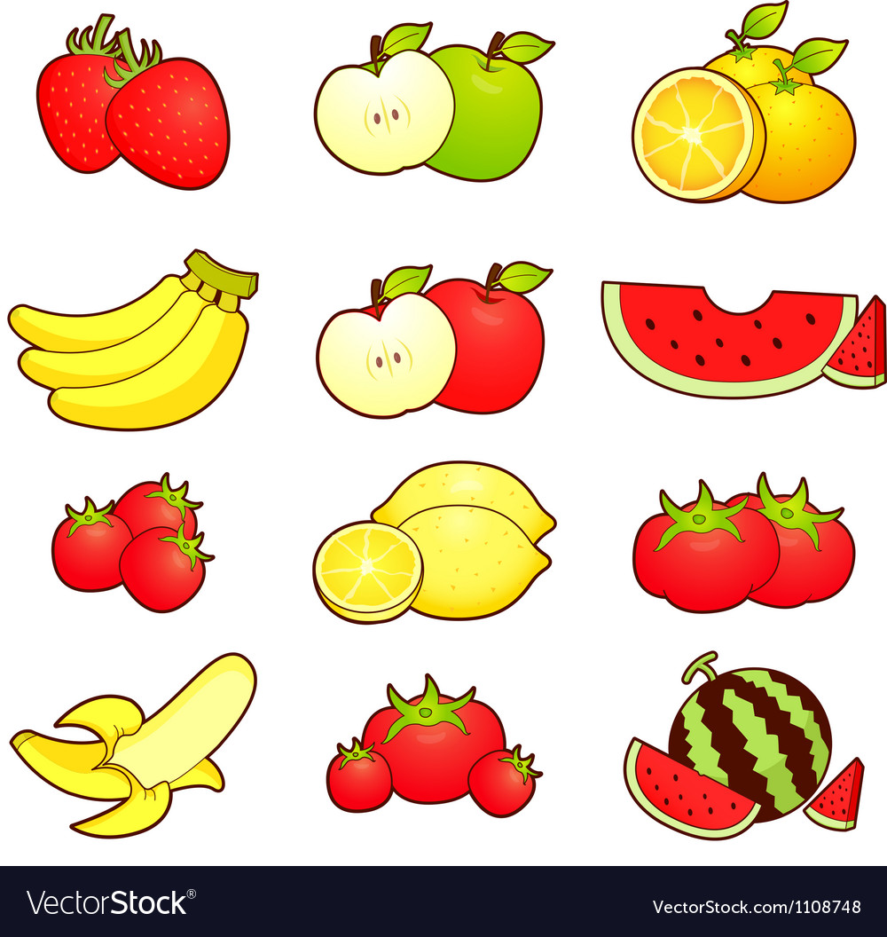 A wide variety of fruits icons sets vector | Price: 1 Credit (USD $1)