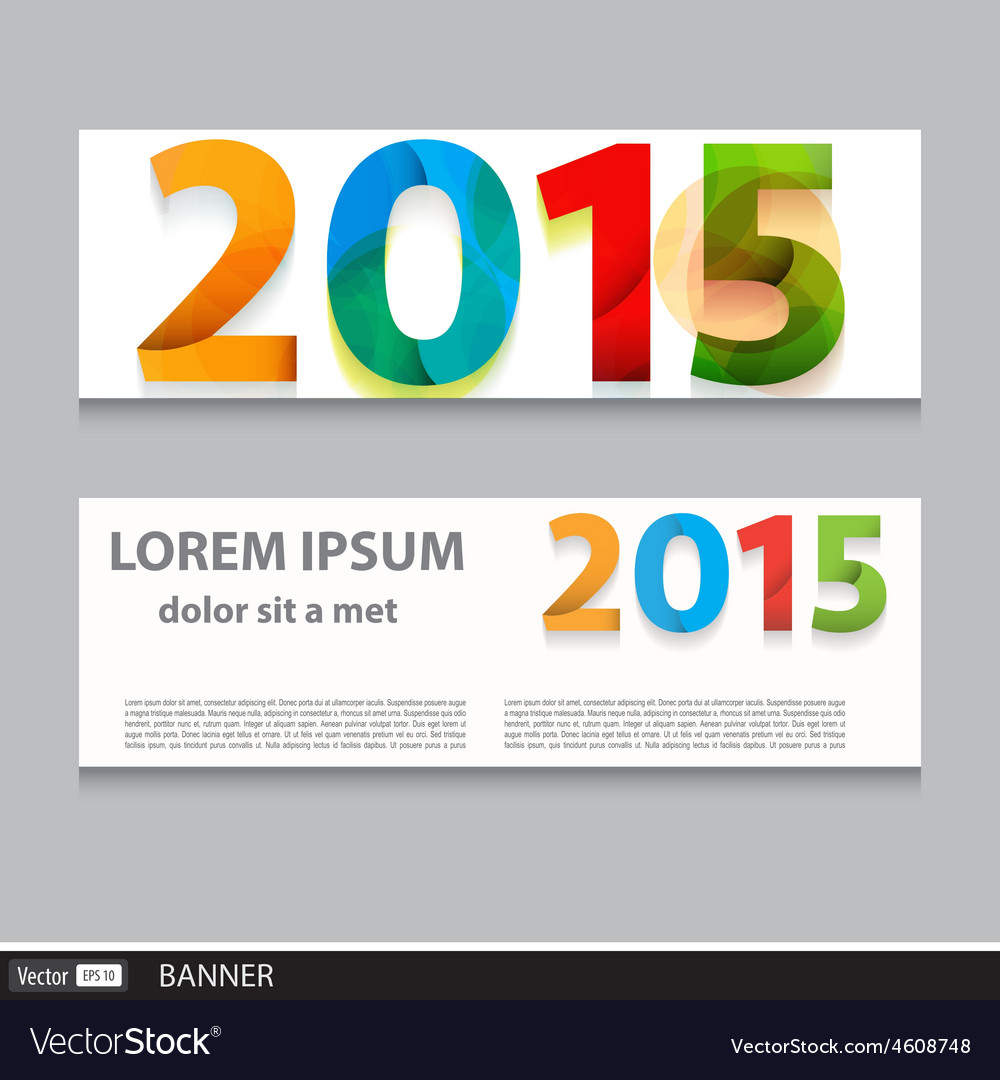 Banner set 2015 happy new year vector | Price: 1 Credit (USD $1)