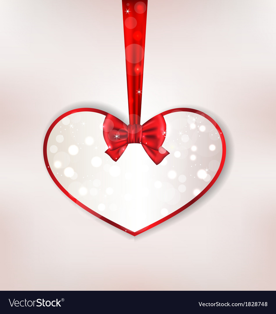 Card heart shaped with silk bow for valentine day vector | Price: 1 Credit (USD $1)