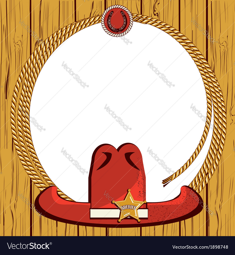 Cowboy rope frame background and western hat vector | Price: 1 Credit (USD $1)