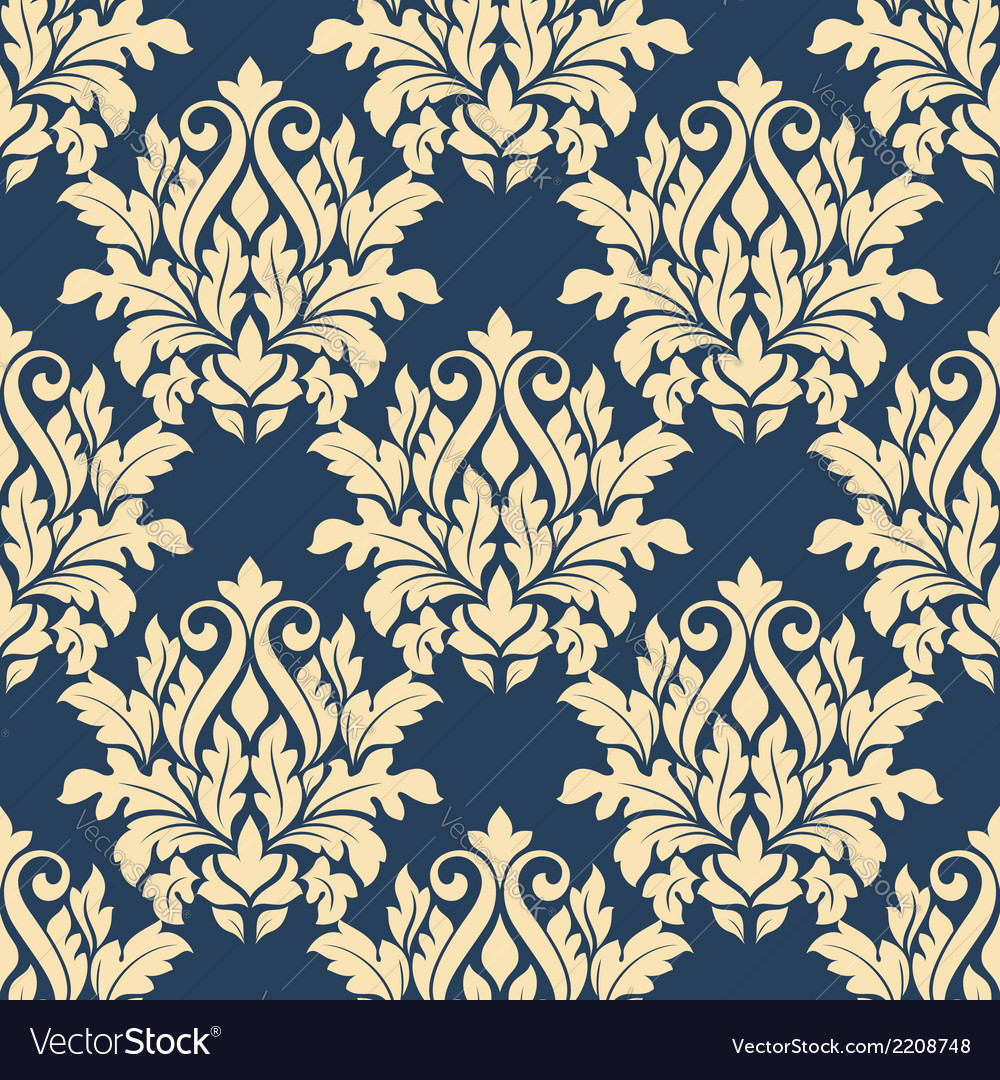 Damask style seamless pattern on blue vector | Price: 1 Credit (USD $1)