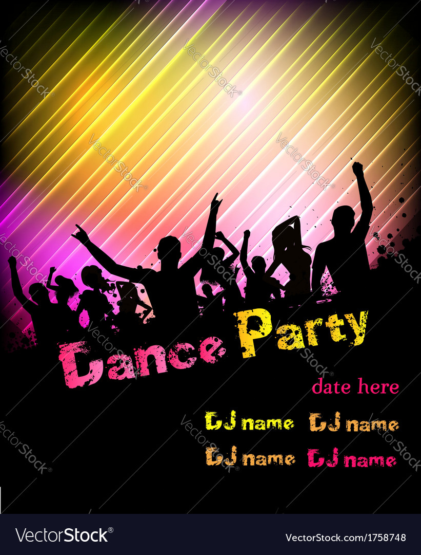 Dance party poster vector | Price: 1 Credit (USD $1)