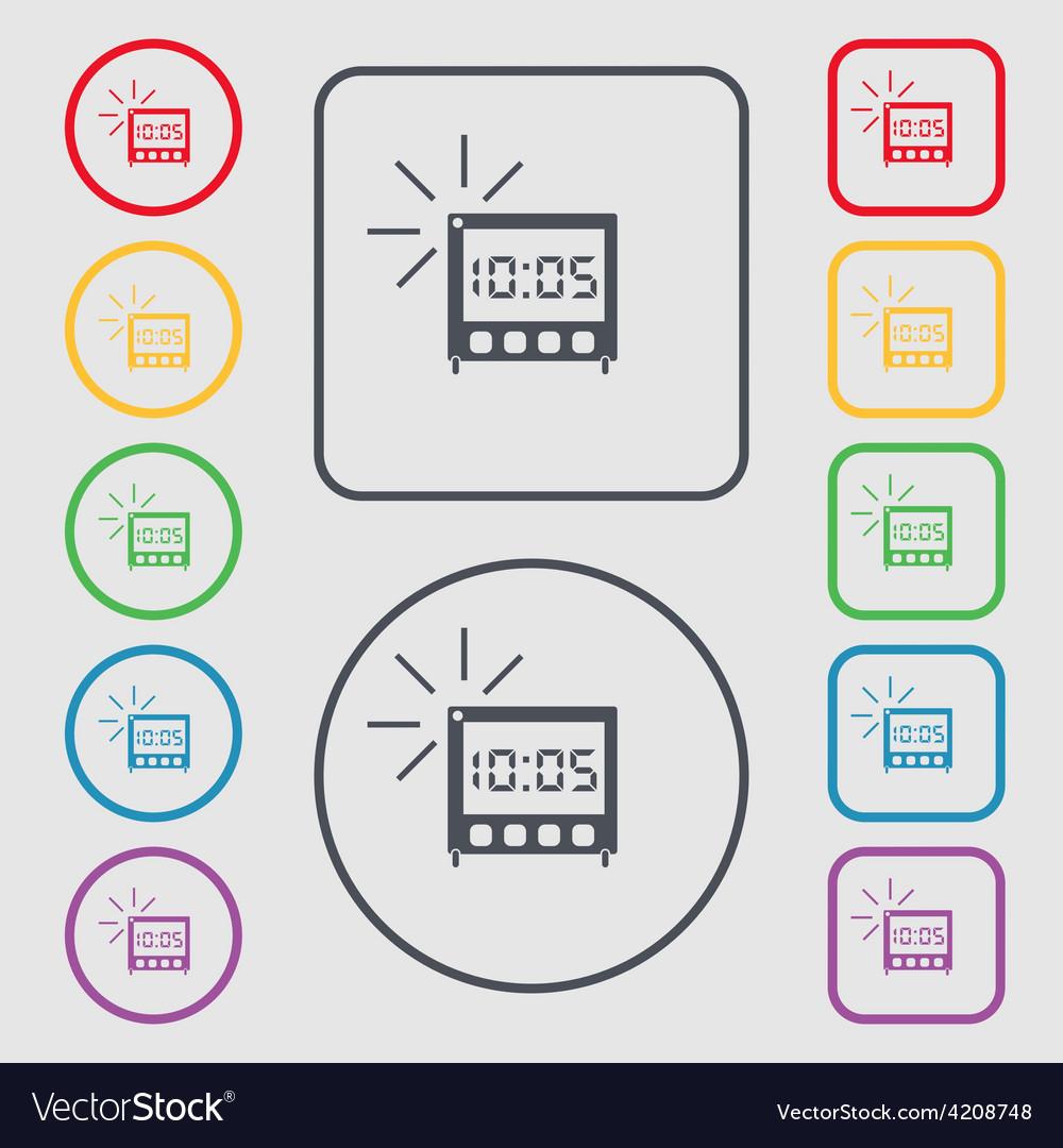 Digital alarm clock icon sign symbol on the round vector | Price: 1 Credit (USD $1)