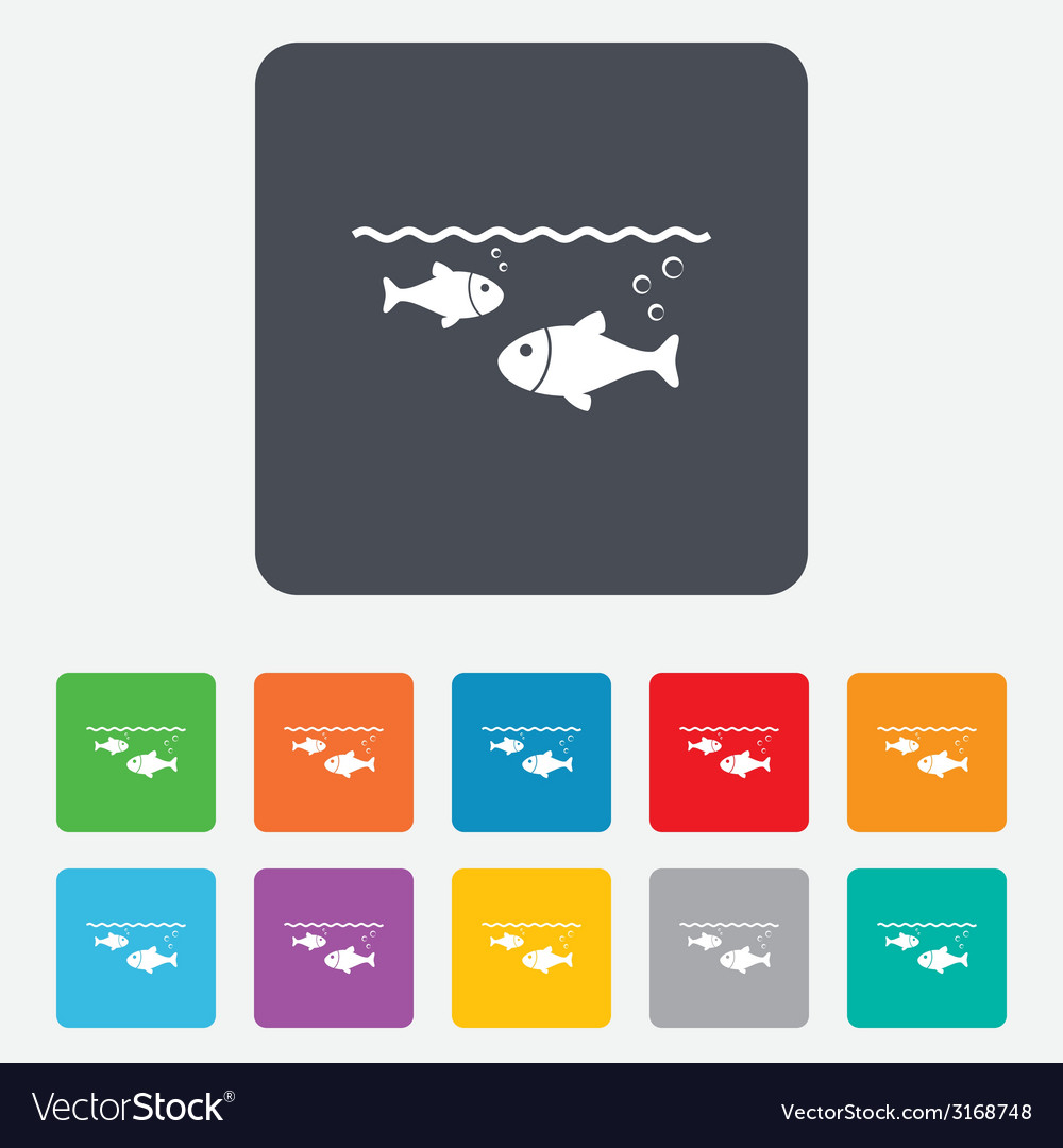 Fish in water sign icon fishing symbol vector | Price: 1 Credit (USD $1)