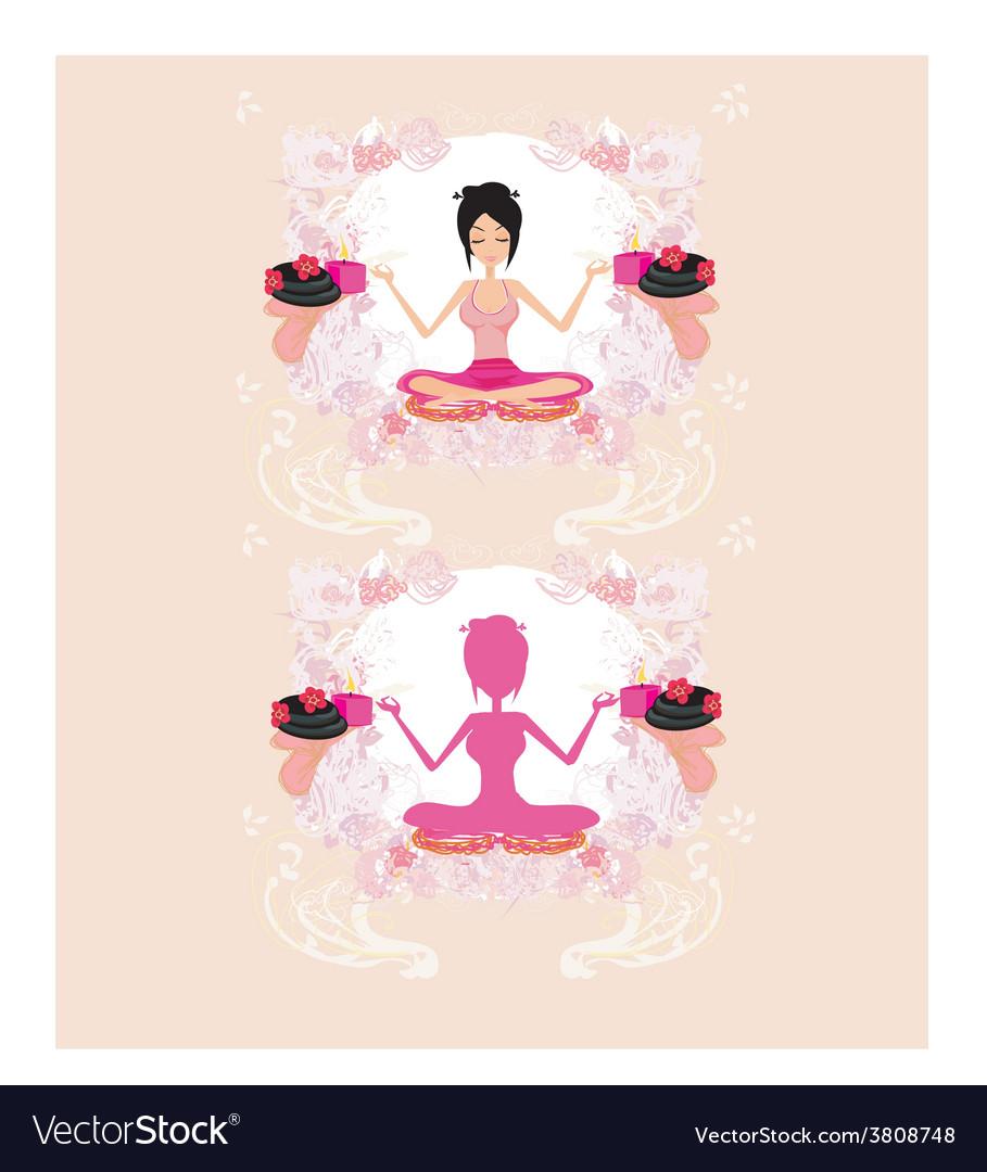 Girl in yoga pose vector | Price: 1 Credit (USD $1)