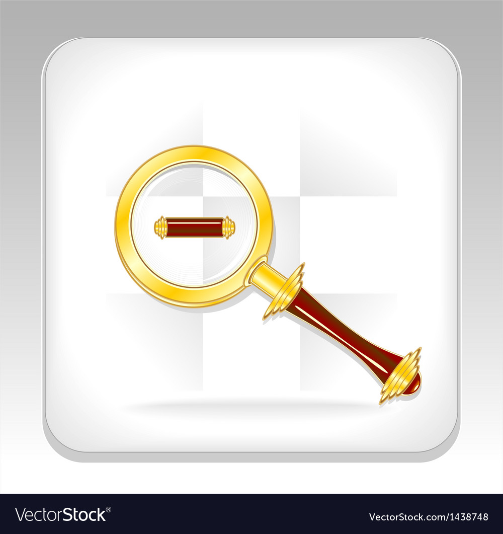 Gold magnifier icon or button with minus vector | Price: 1 Credit (USD $1)