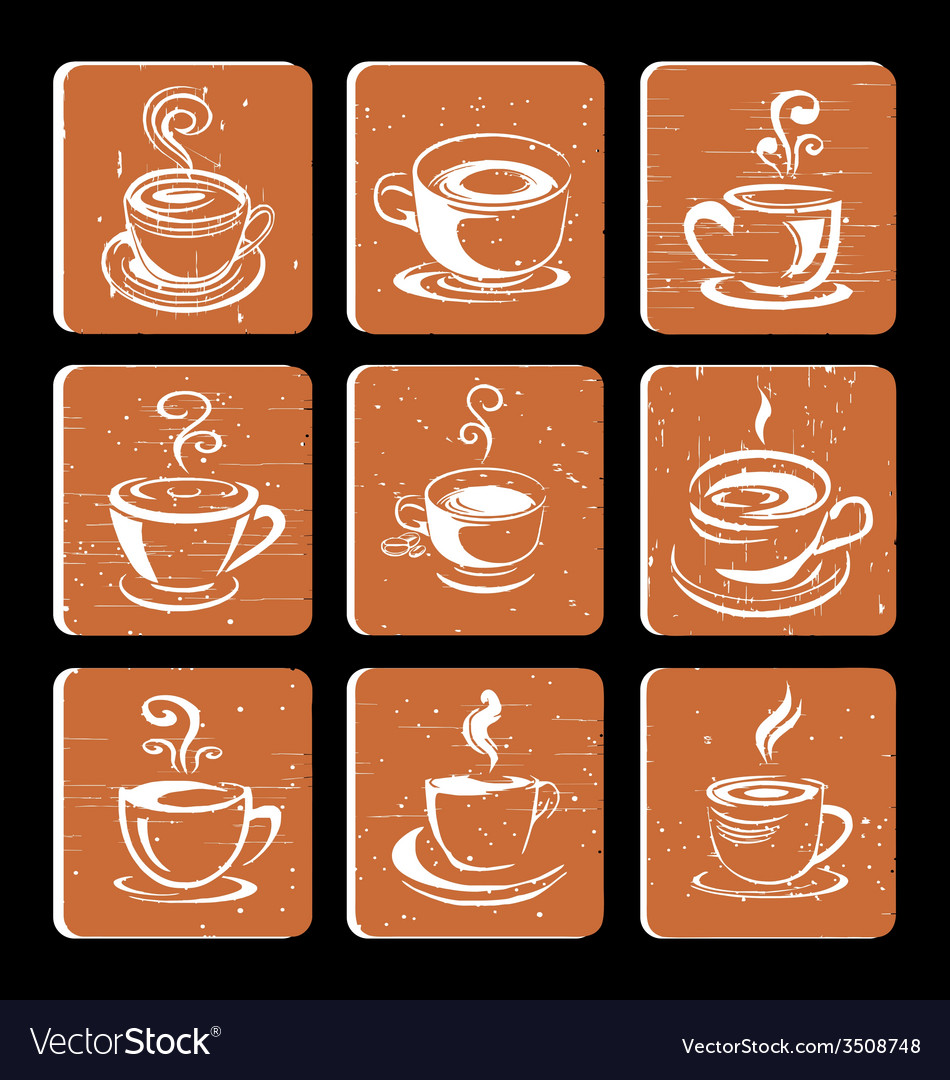 Hand drawn coffee cup icon vector | Price: 1 Credit (USD $1)