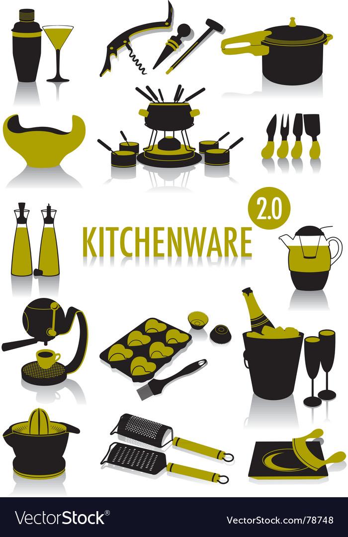 Kitchenware silhouettes vector | Price: 1 Credit (USD $1)