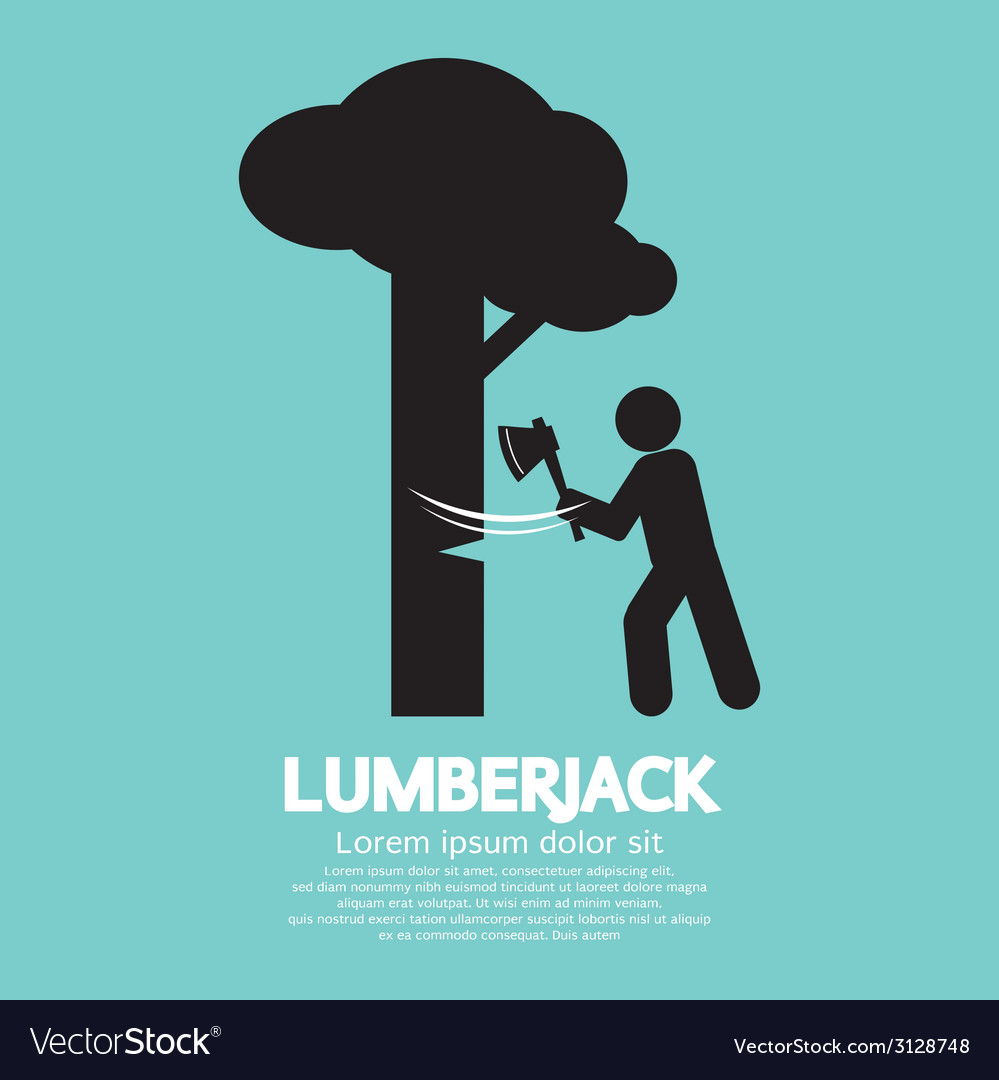 Lumberjack with axe symbol vector | Price: 1 Credit (USD $1)