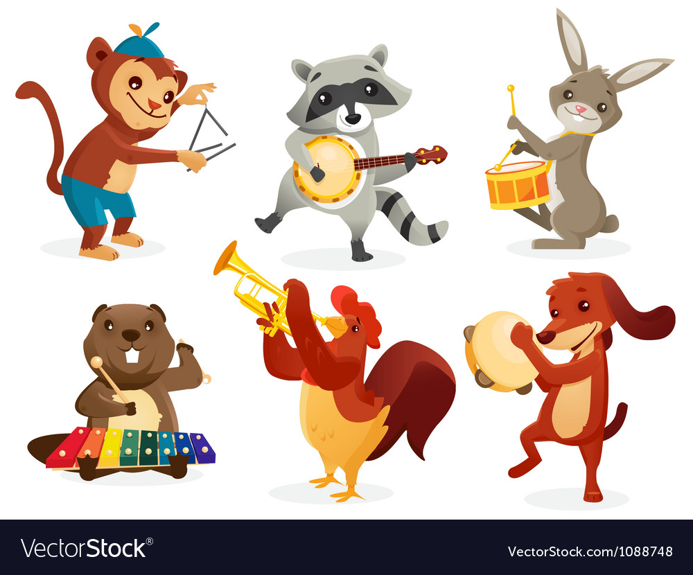 Musical animals vector | Price: 3 Credit (USD $3)