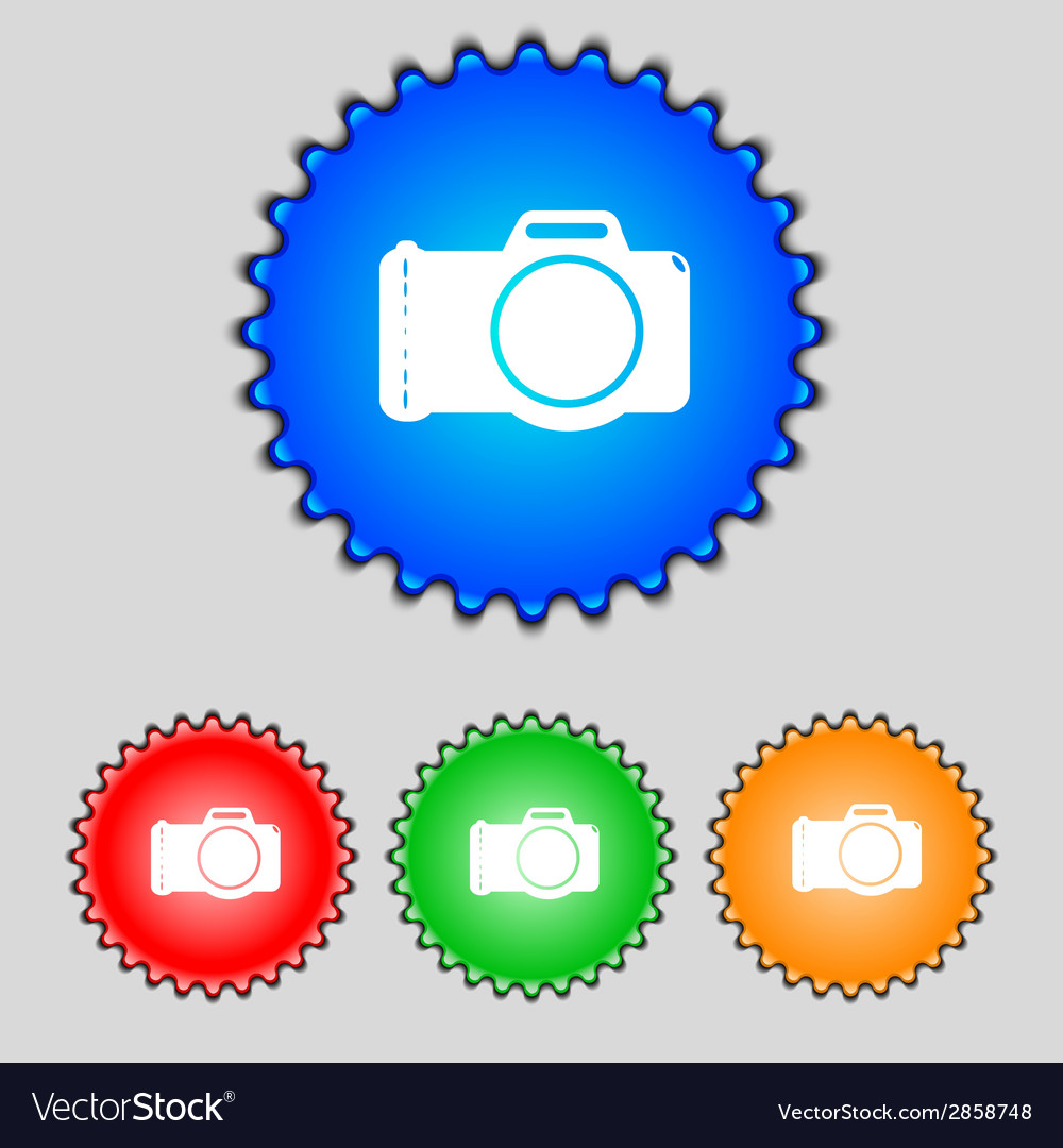 Photo camera sign icon digital symbol set vector | Price: 1 Credit (USD $1)