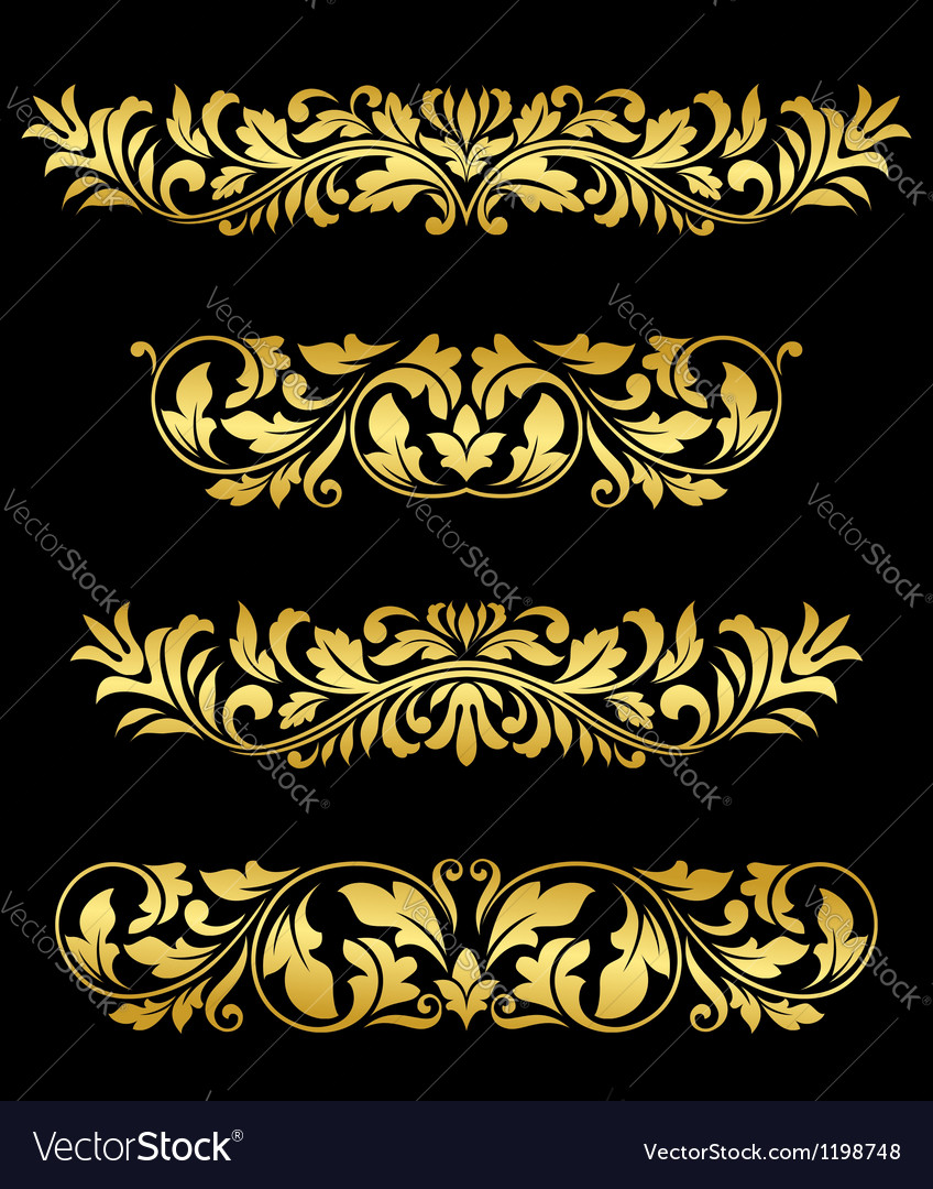 Retro gold floral elements and embellishments vector | Price: 1 Credit (USD $1)