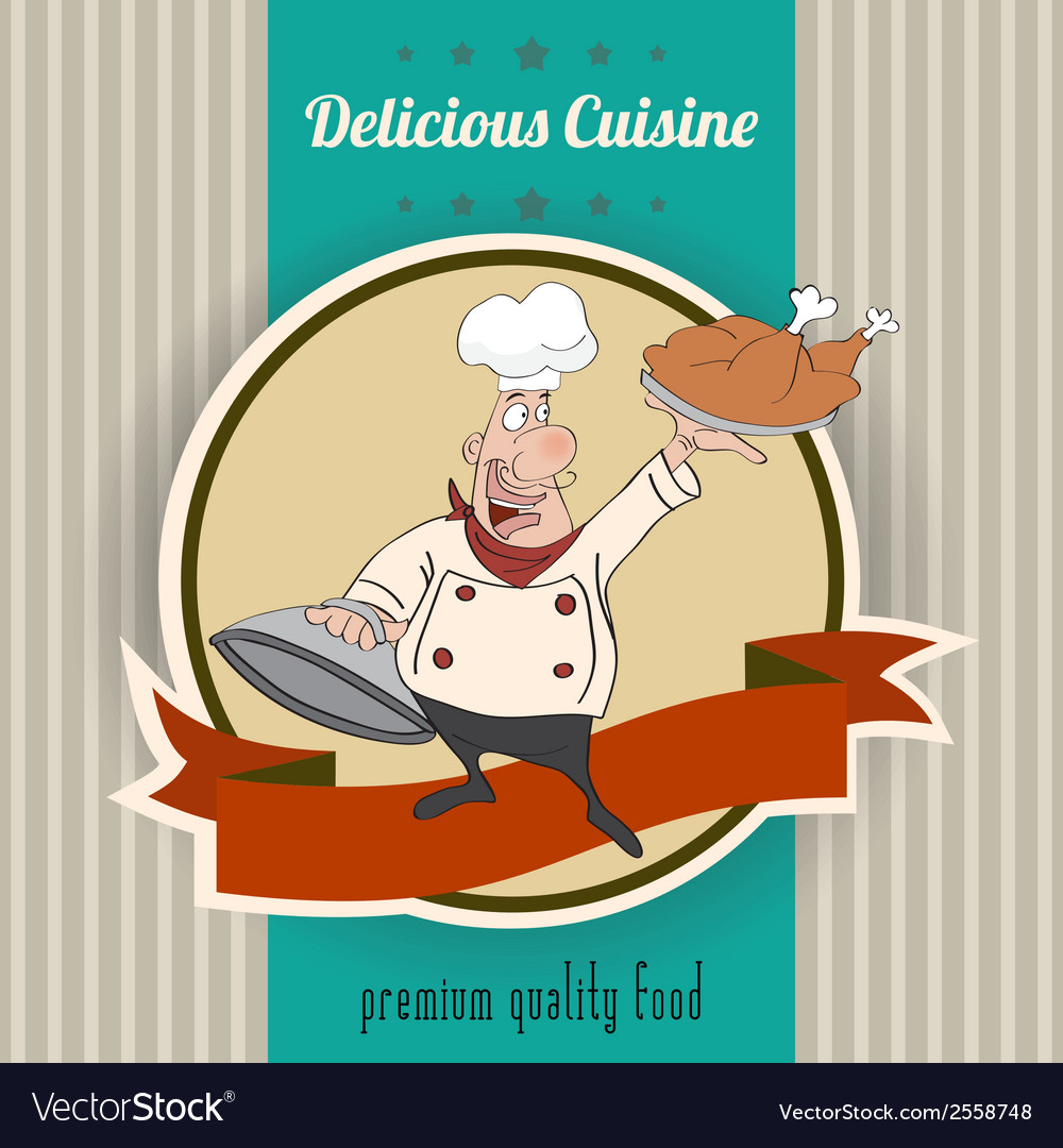 Retro with cook and delicious cuisine message vector | Price: 1 Credit (USD $1)