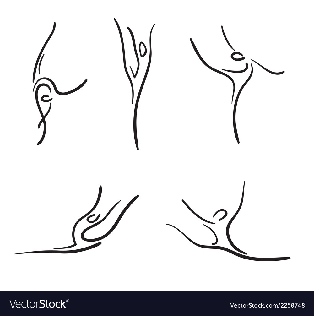 Rhythmic gymnastics sketches set vector | Price: 1 Credit (USD $1)