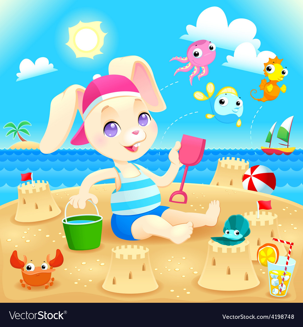 Young rabbit makes castles on the beach vector | Price: 3 Credit (USD $3)