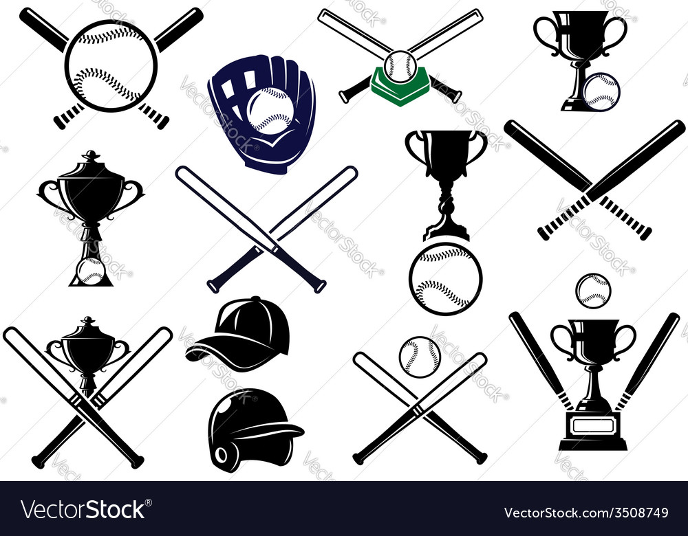 Baseball equipments set vector | Price: 1 Credit (USD $1)