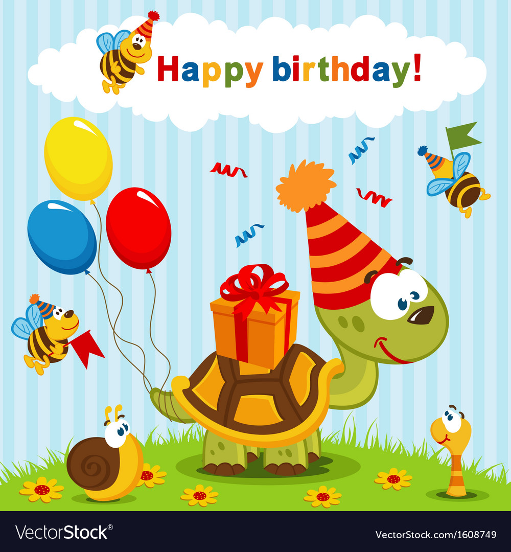 Birthday turtle vector | Price: 1 Credit (USD $1)