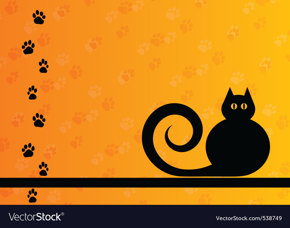 Black silhouette of cat with foot track vector | Price: 1 Credit (USD $1)
