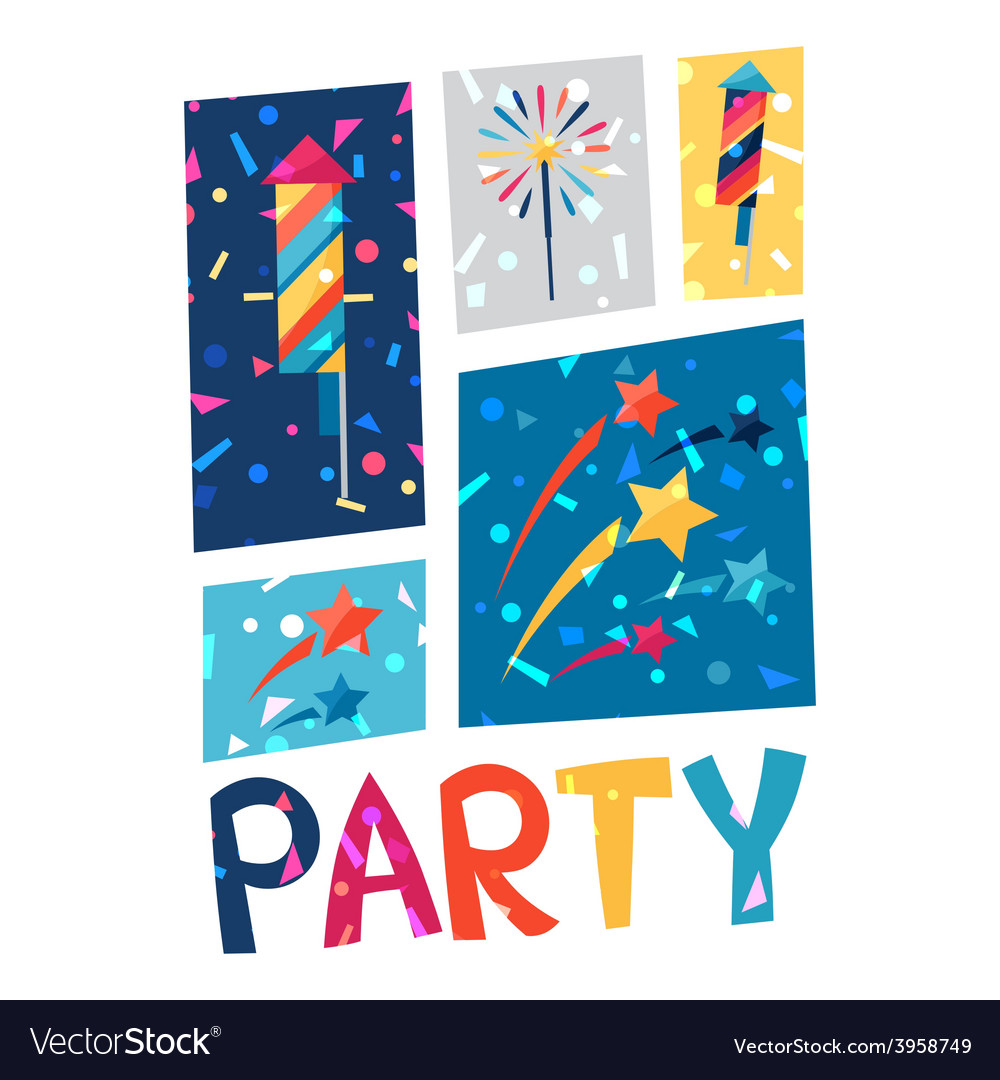Celebration party poster with shiny confetti vector | Price: 1 Credit (USD $1)