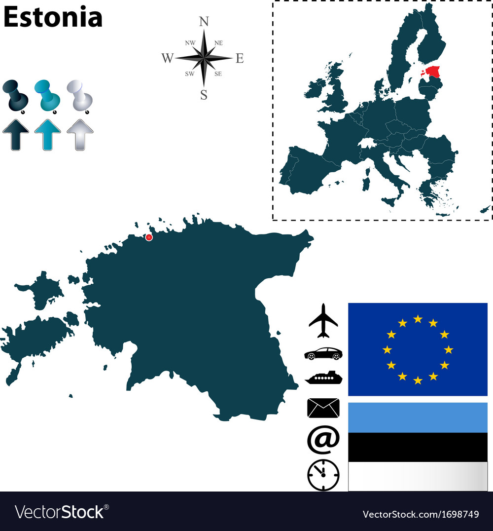 Estonia and european union map vector | Price: 1 Credit (USD $1)