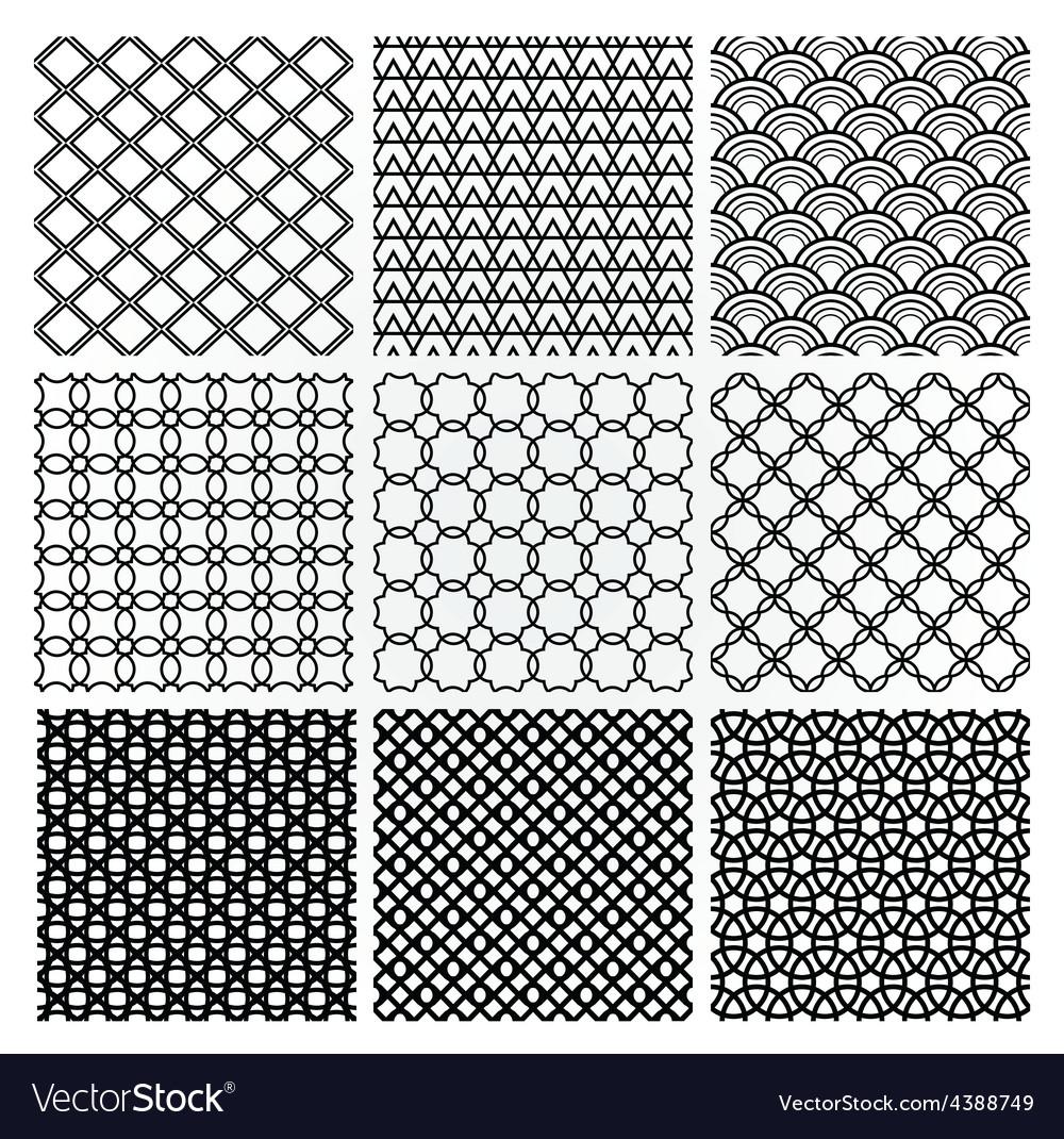 Geometric monochrome seamless background patterns vector | Price: 1 Credit (USD $1)