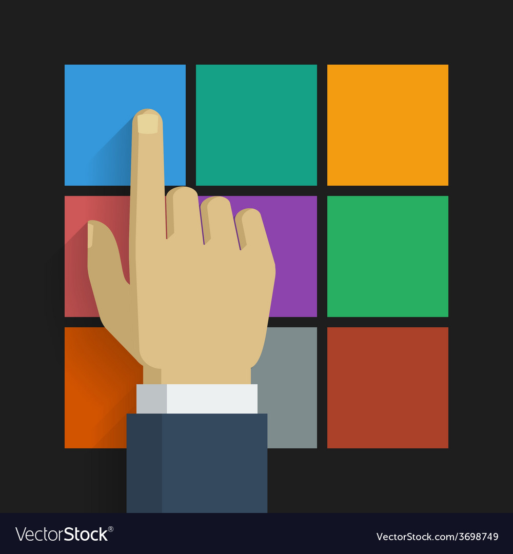 Hand click icon 001 vector | Price: 1 Credit (USD $1)