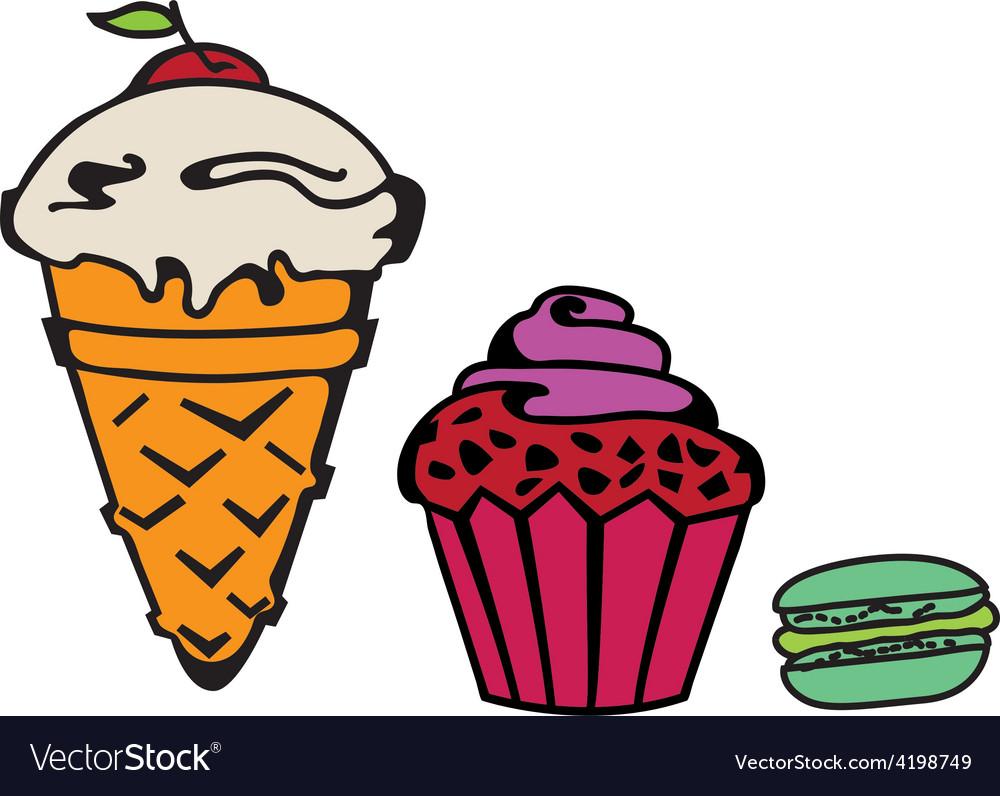 Icecream cupcake makaroni set vector | Price: 1 Credit (USD $1)