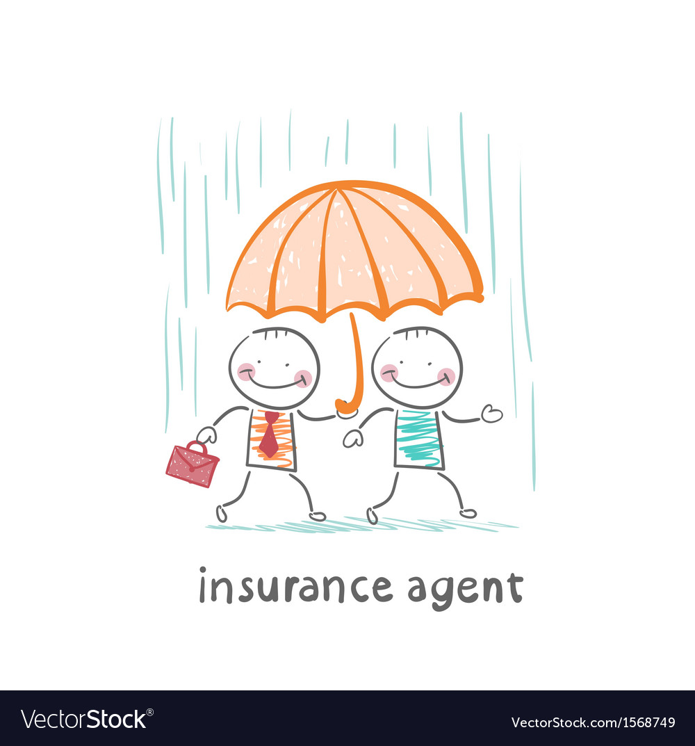 Insurance agent protects a person from the rain vector | Price: 1 Credit (USD $1)