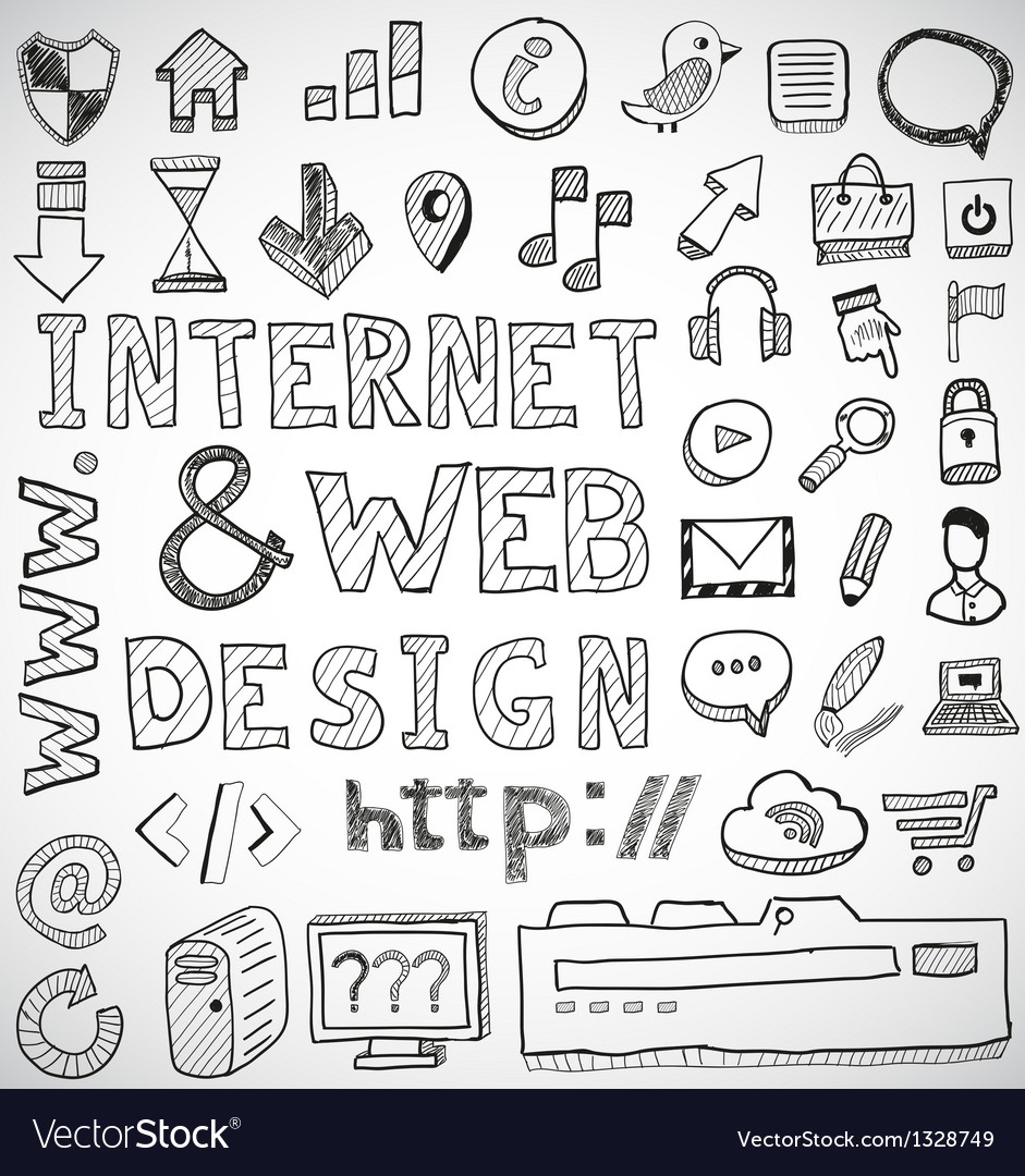Internet and web design hand drawn doodles vector | Price: 1 Credit (USD $1)