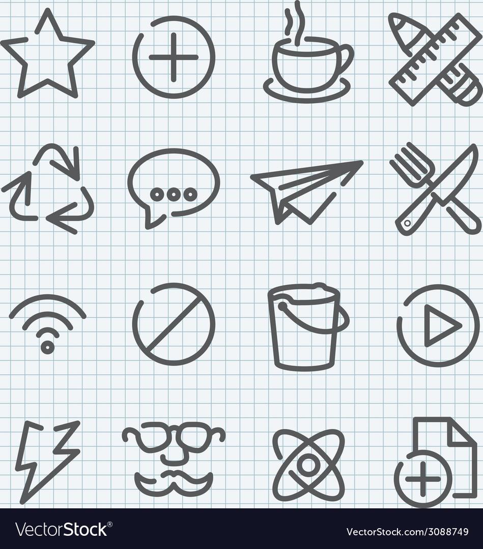 Line icon set vector | Price: 1 Credit (USD $1)