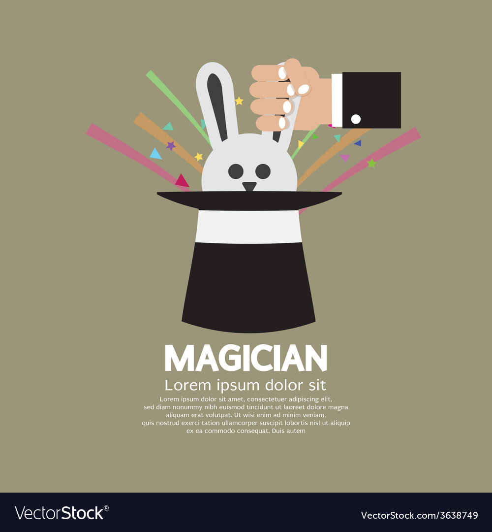 Magicians hand with rabbit in the hat vector | Price: 1 Credit (USD $1)