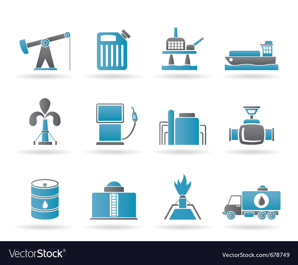 Oil and petrol industry icons vector | Price: 1 Credit (USD $1)