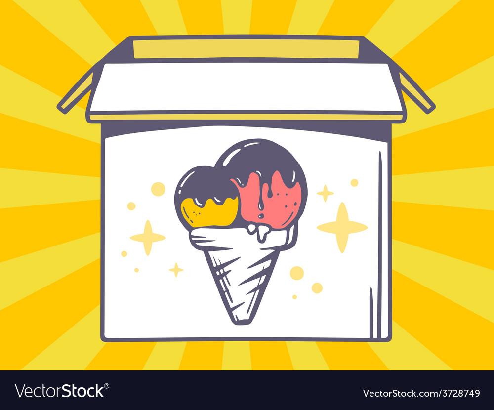 Open box with icon of ice cream on yello vector   Price: 1 Credit (USD $1)