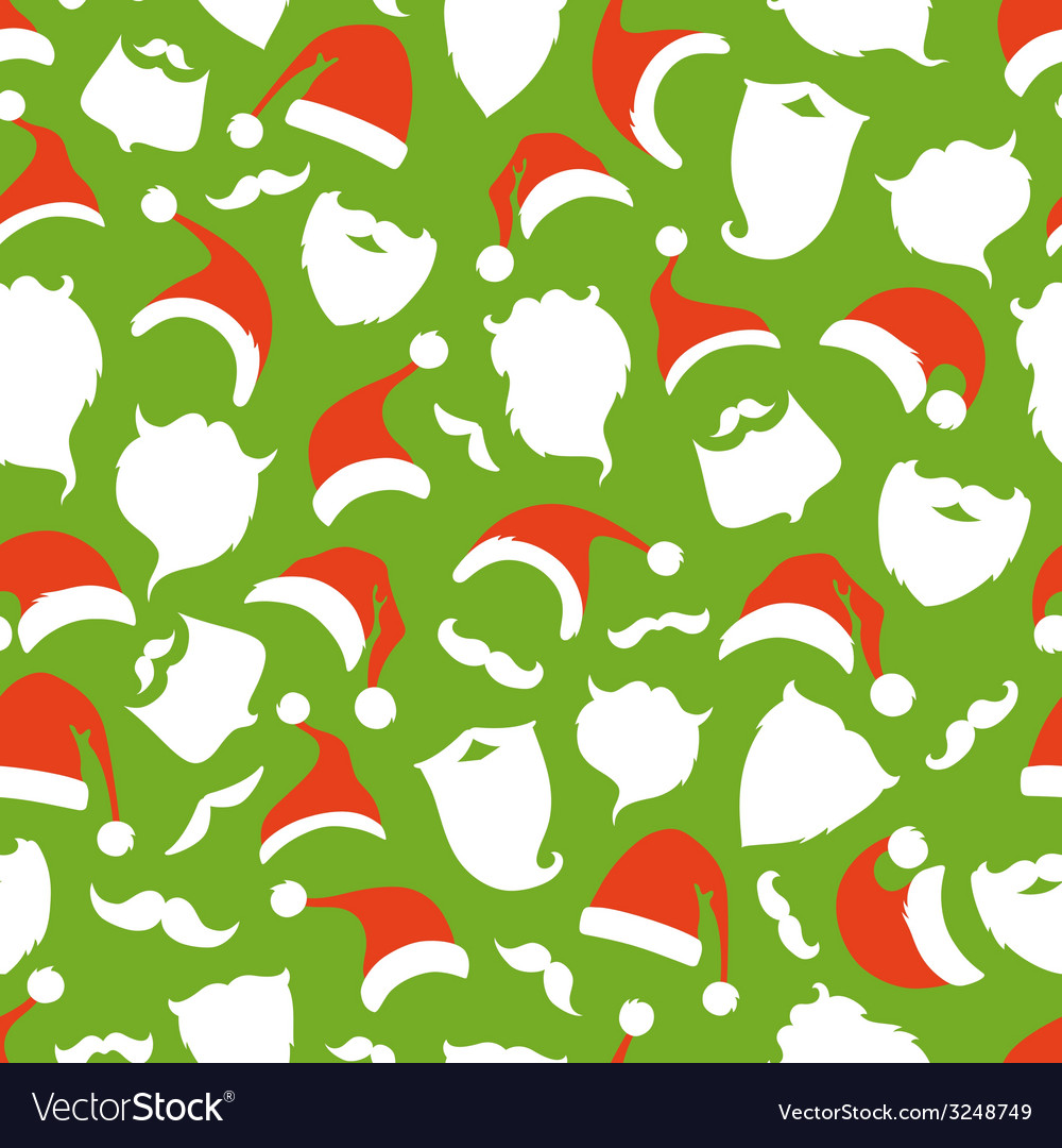 Seamless pattern of santa hats moustache and vector | Price: 1 Credit (USD $1)