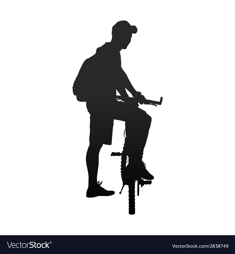Silhouette of man with bicycle rear view vector | Price: 1 Credit (USD $1)
