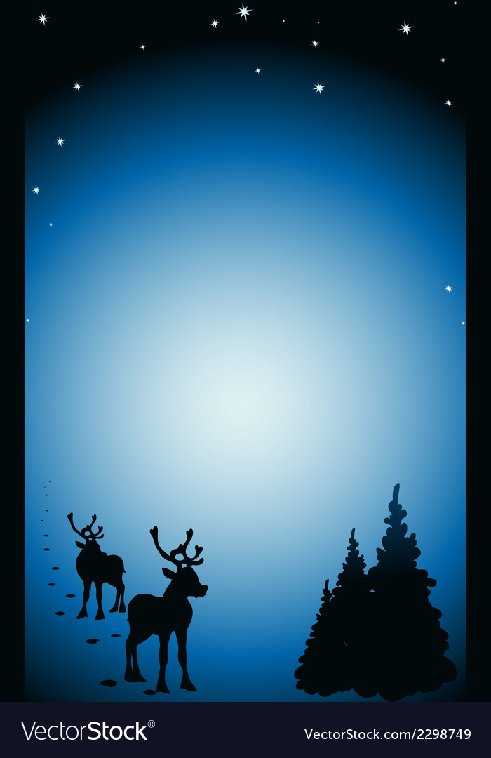 Winter background with reindeer silhouettes vector | Price: 1 Credit (USD $1)